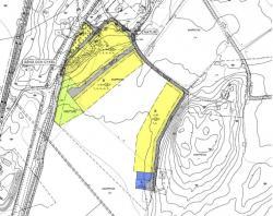 Plankarta för förslaget till ny detaljplan. Gul markering visar var de nya husen ska kunna byggas.