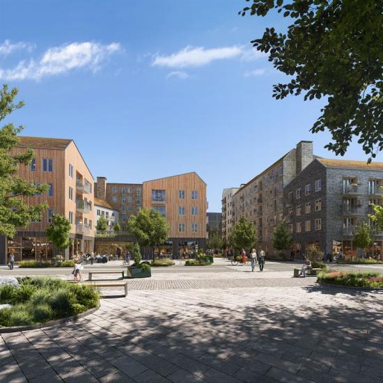Visionsbild över området kring Lindens torg iKungsbacka (bilden är en illustration).