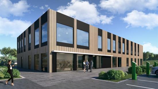 Visionsbild över Paradumos nya kontor i Nykvarn.