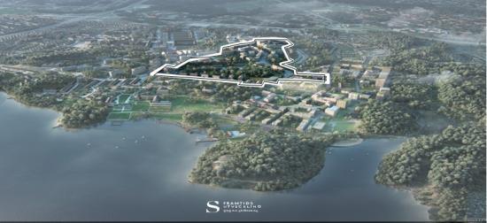 Översiktsbild över Framtidens Stora Sköndal etapp 2a (bilden är en illustration).