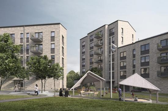 I mars 2020 skerde första inflyttningarna. Lägenheternai ett av de nya husen har i första hand reserverats till unga vuxna.