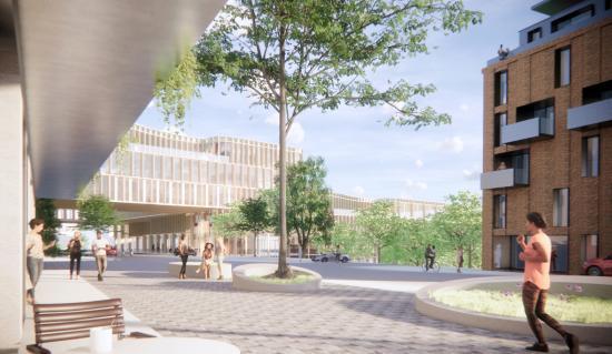 Ny bebyggelse och angöringsgata/torg ovanpå intunnlingen.