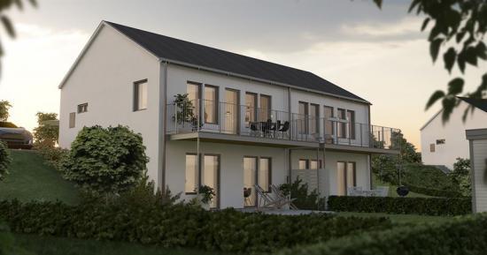 Visionsbild över baksidan på ett av husen som ska byggas (bilden är en illustration).
