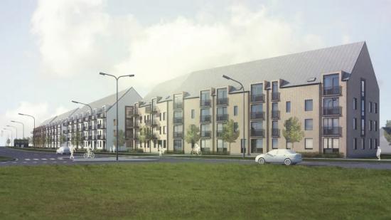 I am Home utvecklar bostadsprojekt Västervångi Trelleborg. Totalt 189 lägnheter ska uppföras, som säljs till Heimstaden (bilden är en illustration).