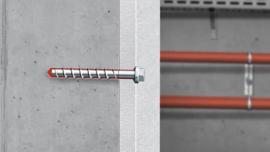 Infästningssystemet kombinerar betongskruven W-BS med injekteringsmassa WIT-BS och ger snabb och säker montage i betong (bilden är ett kollage).