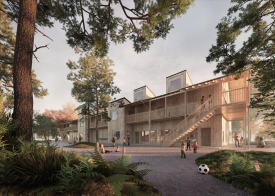 Visionsbild över JSBs skolbyggnad Tallen, som ritats av Wingårdhs Arkitekter.