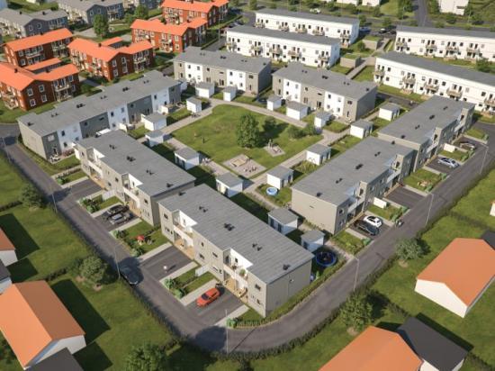 Översiktsillustration av det nya kvarteret BoKlok Neptunus i Fullerö hage, Uppsala.