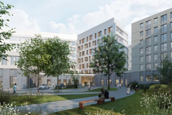 Barkarby sjukhus får ett centralt läge mitt i Barkarby. Modern vård och omsorg blir tillgänglig för patienter, anhöriga och arbetstagare i hela nordvästra Stockholm (bilden är en illustration).