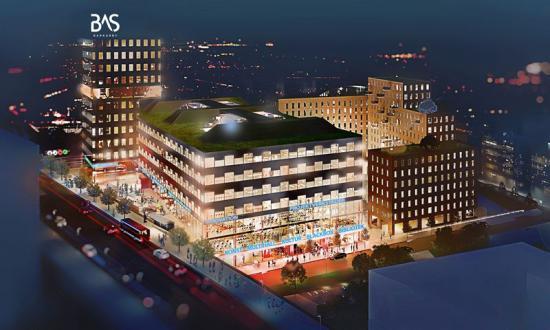 Bas Barkarby byggs intill E18, pendeltåg och kommande tunnelbana.