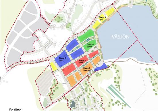 Ietapp 1 byggs cirka 300 bostäderna vid Väsjö torg längs nya Slalomvägen. Bostäderna blir klara omkring 2023.Under 2021 fortsätter planeringen för försäljning av ytterligare byggrätter på Väsjö torg. Totalt beräknas omkring 1 000 bostäder att kunna byggas här i etapper fram till omkring 2029.