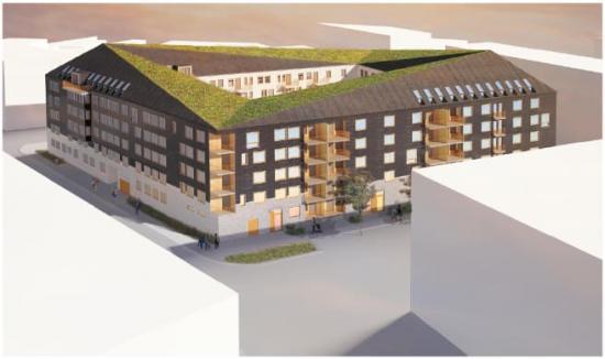 Tidig visionsbild av kvarteret Pålsteken i Limhamn.