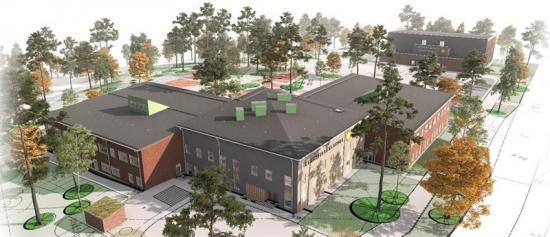 Skiss över skolan som ska byggas istadsdelen Stockfallet i Karlstad.