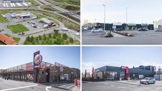 På fastigheterna verkar en lång rad starka varumärken såsom, t.ex. Burger King, KFC, McDonalds, Circle K, ChopChop, Subway, Lindab, Hööks hästsport och Arken Zoo.