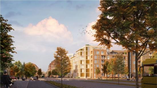 Illustration av innerstadens nya södra entré. Stora Södergatan med den nya bebyggelsen på höger sida.