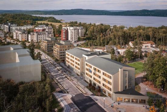 Flygbild över Villa Stadsskogen, Vardagas nyagrupp- och äldreboende (bilden är en illustration).