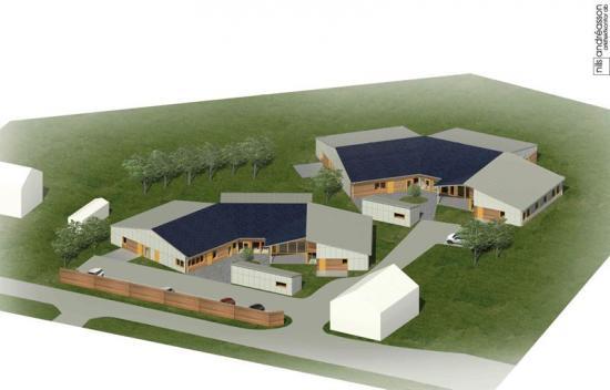 Översiktsbild över LSS-boendet som ska byggas i Ale kommun (bilden är en illustration).