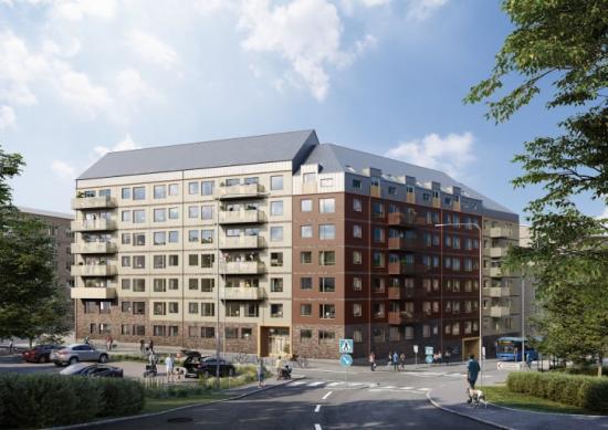 Lägenheterna. som ligger nära skogen, kommunikationer och områdets terrasspark, ska stå klara till Göteborgs 400-års jubileum 2021.
