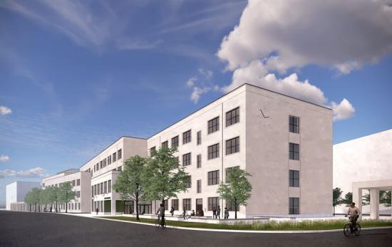 Visionsbild över den nya gymnasieskolan (bilden är en illustration).