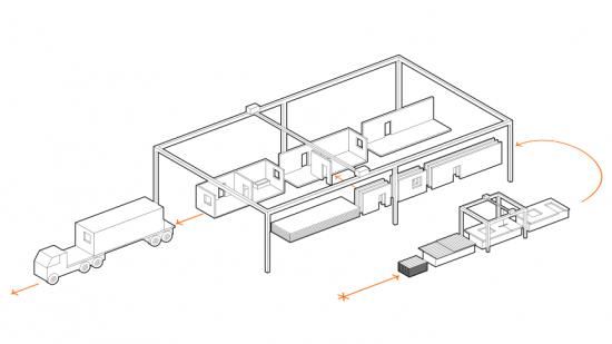 Industriell tillverkning av prefabricerade byggelement och byggmoduler i kl-trä.