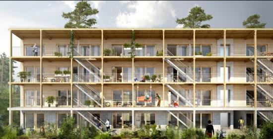 Visionsbild över de nya studentbostäderna (bilden är en illustration).