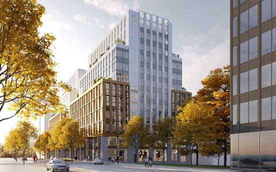 Kontorsfastigheten kommer vara 20000 kvadratmeter stor och ha 12 våningar ovan mark samttvå källarplan(bilden är en illustration).