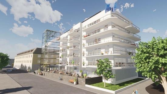 Fastighetsbolaget Lomma Tegelfabriks visionsbild över Hotel Carlshamn med spaanläggning på övre plan (bilden är en illustration).