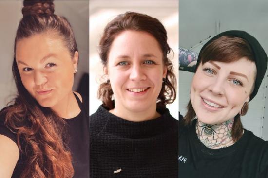 Finalisterna i Årets byggkvinna 2021. Från vänster: Stephanie Olsson, lagbas, Veidekke - Emilia Carlman, produktionschef, NCC - Emmalena Andersson, byggchef, Plåtslageri1.