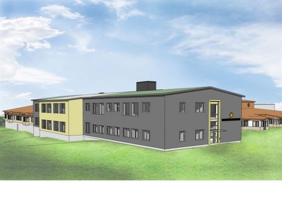 Skiss över om- och tillbyggnaden av Skattkärrskolan.