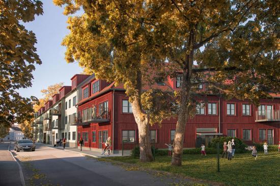 Visionsbild över Kvarteret Prästlyckan Alingsås (bilden är en illustration).