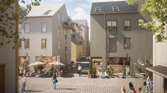 I centrala Kungälv projekterar Balder 124 moderna bostadsrätter och cirka tio lokaler, som kommer ge plats för handel och liv(bilden är en illustration).