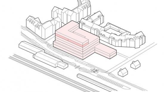 En av skisserna somhartagits fram för att ge en uppfattning om volym på byggnaden i förhållande till platsen.