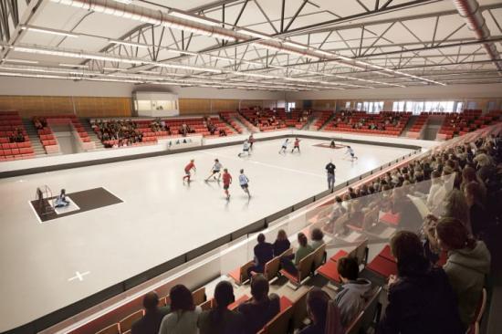 Wallenstam arena med matchplan och plats för 1 600 åskådare.