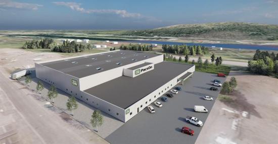 Den 5500 stora och 7,5 meter höga industrifastigheten som Contractor ska bygga till PacsOn papperspartner i Skellefteå (bilden är en illustration).