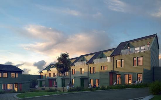 I stadsdelen Vega i Haninge ska Stena Fastigheter bygga bostadsrättsradhus(bilden är en illustration).