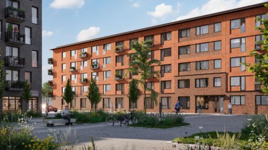 Visionsbild av nya kvarteret Spannlandet 2, i Hägerneholm i Täby, utvecklat av BrickHouse Bostäder AB.