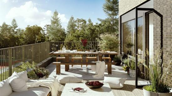 Så här kan en terrassi bostadsprojektet Nockebyn komma att se ut efter inflytt.