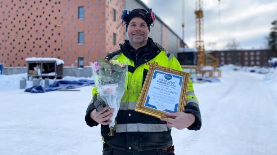 Alexander Lindqvist, Umia Elteknik, prisas av Yrkesgymnasiet i Umeå som Månadens handledare.