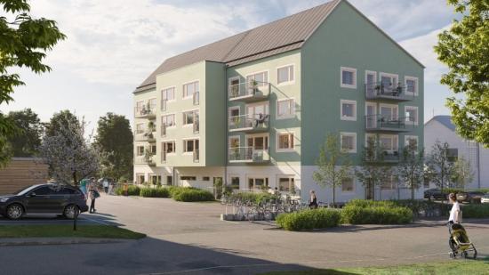Fastigheten i Järfälla ska rymma 32 hyreslägenheter och vara klar för inflytt under andra halvan av 2022 (bilden är en illustration).