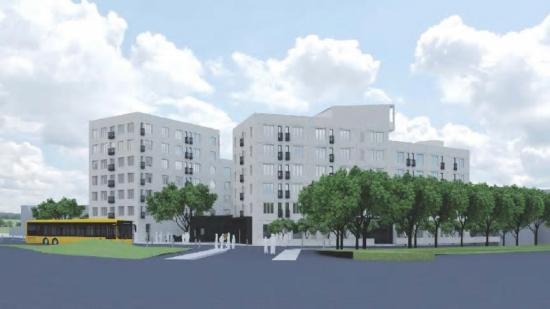 Visionsbild över fastigheten som ska rymma 165 studentlägenheter samt gemensamhetslokaler åt Blekingska Nationen i Lund (bilden är en illustration).