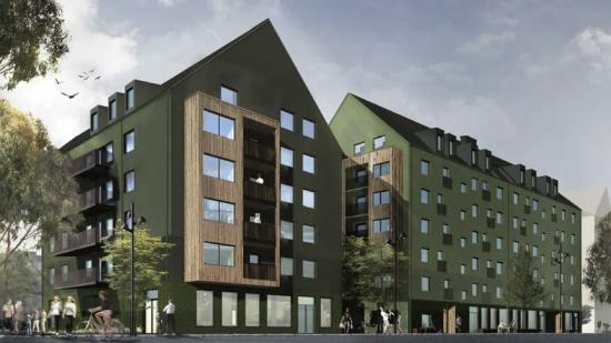 Visionsbild av Wallenstams kvarter Bersån i Uppsala (bilden är en illustration).