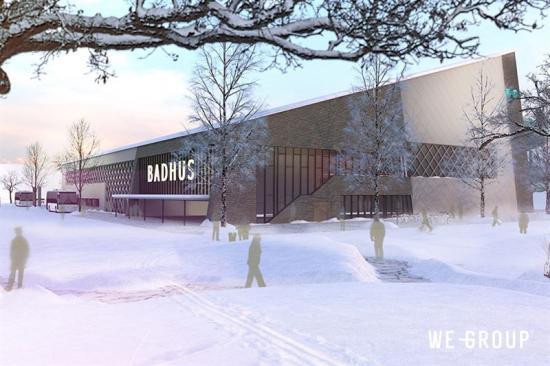 Det nya badhuset byggs i två våningar om totalt 10500kvadratmeter och ersätter Kirunas befintliga simhall.