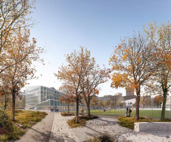 Visionsbild över Hagastadens nya skola (bilden är en illustration).