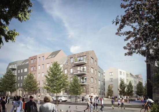 I Bonavas två kvarter närmast Edsbergs allé byggs cirka 150 hyresrätter(bilden är en illustration).