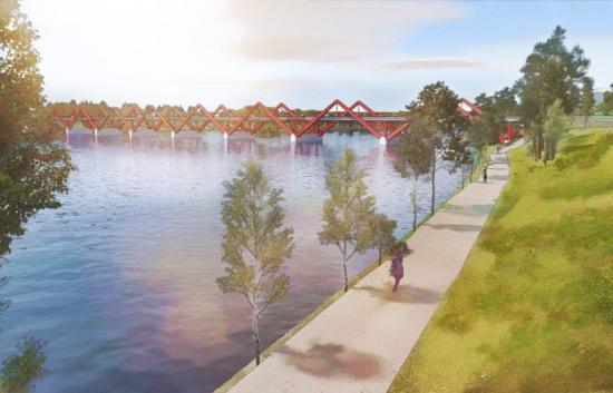 Illustrationen visar hur en framtida ny bro över Skellefteälven kan se ut. Observera, det är inte ett färdigt förslag på utformningen, utan fokus ligger på konstruktionen exempelvis antal brostöd och spann. Våren 2019 sker gestaltningen av bron.