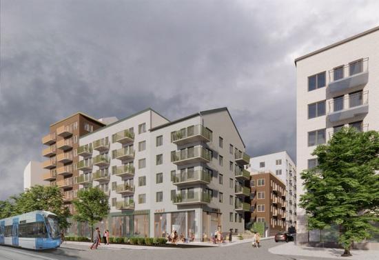 Visionsbild över Magnolias 200 hyresbostäder som ska byggas i Västra Ursvik i Sundbyberg (bilden är en illustration).<span class=\