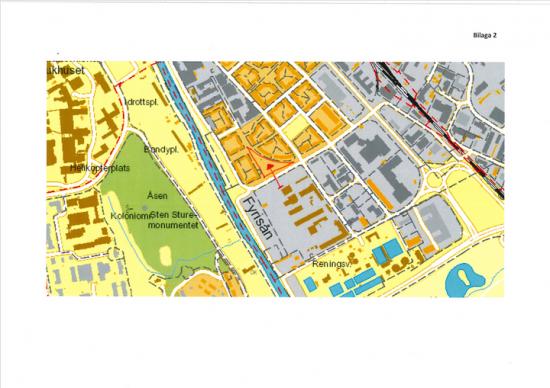 Röd pil visar kvarteret Skytteln.