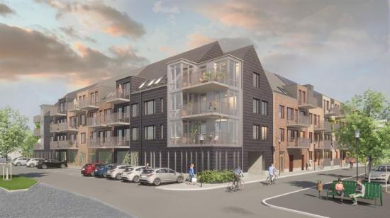 Kvarteret Vitstorken kommer ha fasader av tegel i olika färger och skiffer (bilden är en illustration).
