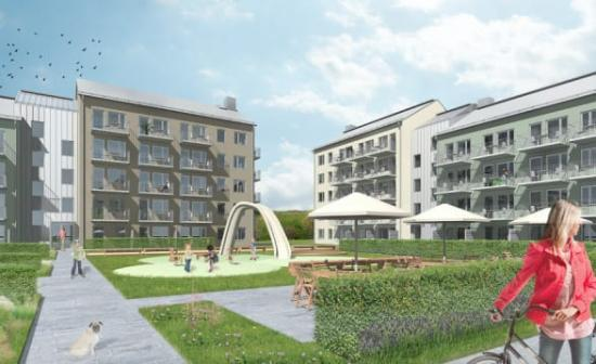 Den 29 maj var det byggstart för nya hyresrätter i kvarteret Kattugglan 5 i attraktiva Marieberg, Nyköping.